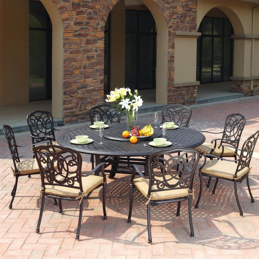 Darlee Florence 9-Piece Antique Bronze Aluminum Patio Dining Set