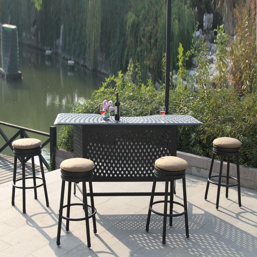 Darlee 5 Piece Cushioned Cast Aluminum Patio Bar Height Set
