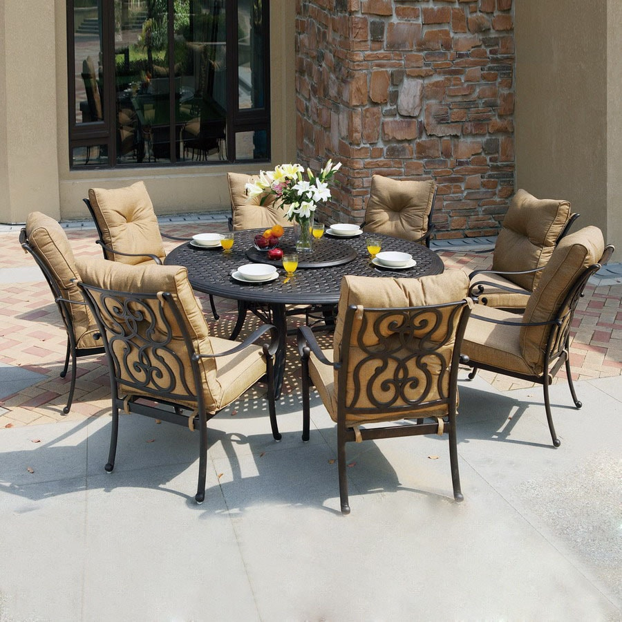 Awesome Darlee 9 Piece Cushioned Cast Aluminum Patio Dining Set