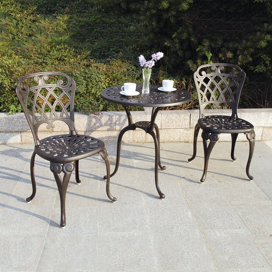 Shop darlee new port 3 piece bronze metal frame bistro for Balcony furniture set