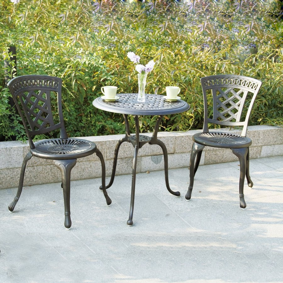 Lowes Card Table And Chairs Darlee San Marino 3-Piece Antique Bronze Aluminum Bistro Patio Dining ...