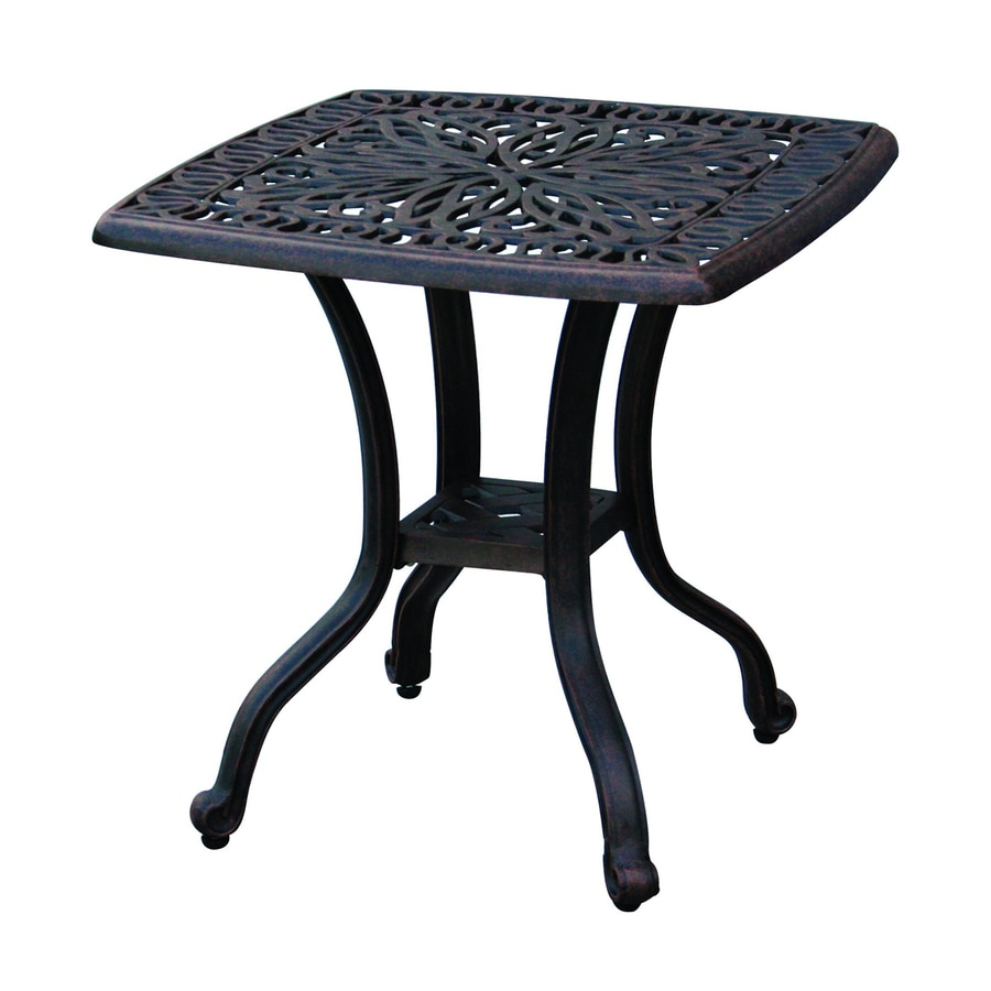 ... Darlee Elisabeth 21 In W X L Square Aluminum End Table Hampton Bay Oak  Heights Accent Metal Outdoor Patio Table Folding Outdoor Side ...