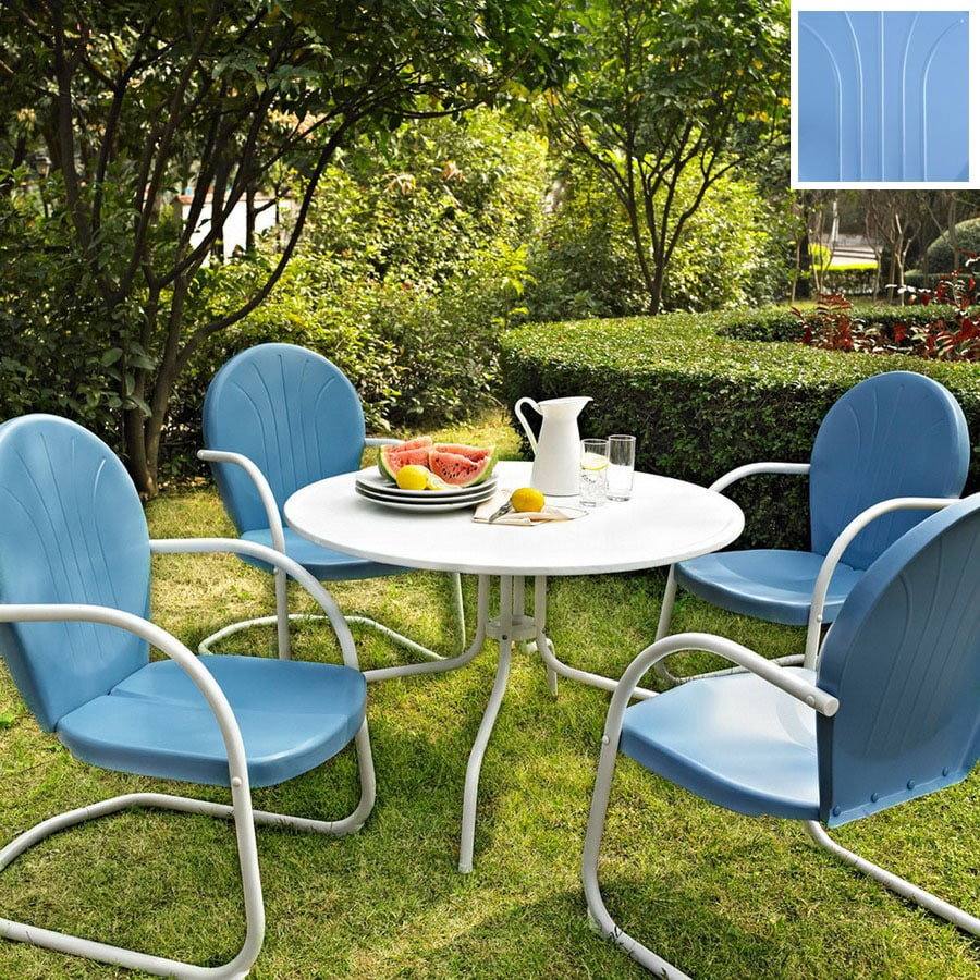 Crosley Furniture Griffith 5-Piece Sky Blue Steel Patio Dining Set