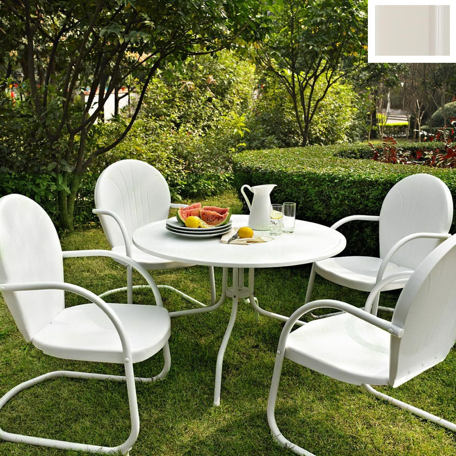 Shop crosley furniture griffith 5 piece white steel patio for Small metal patio set