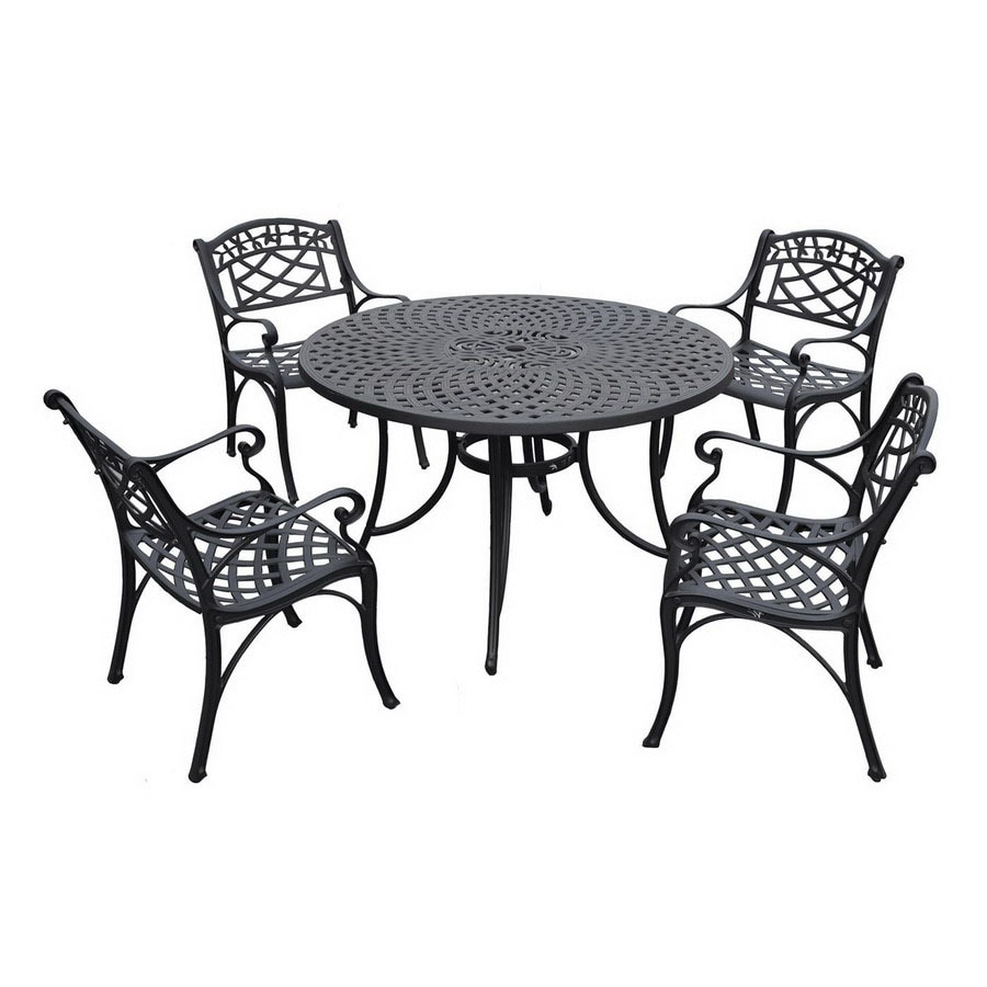 Shop crosley furniture sedona 5 piece black metal frame for Metal patio table and chairs set
