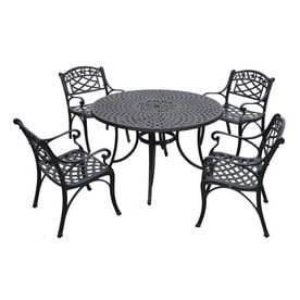 Crosley Furniture Sedona 5 Piece Black Metal Frame Patio Dining Set