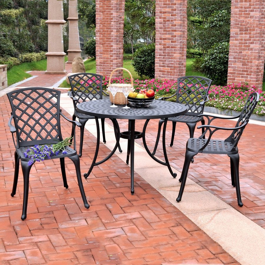 Crosley Furniture Sedona 5 Piece Charcoal Black Aluminum Patio Dining Set