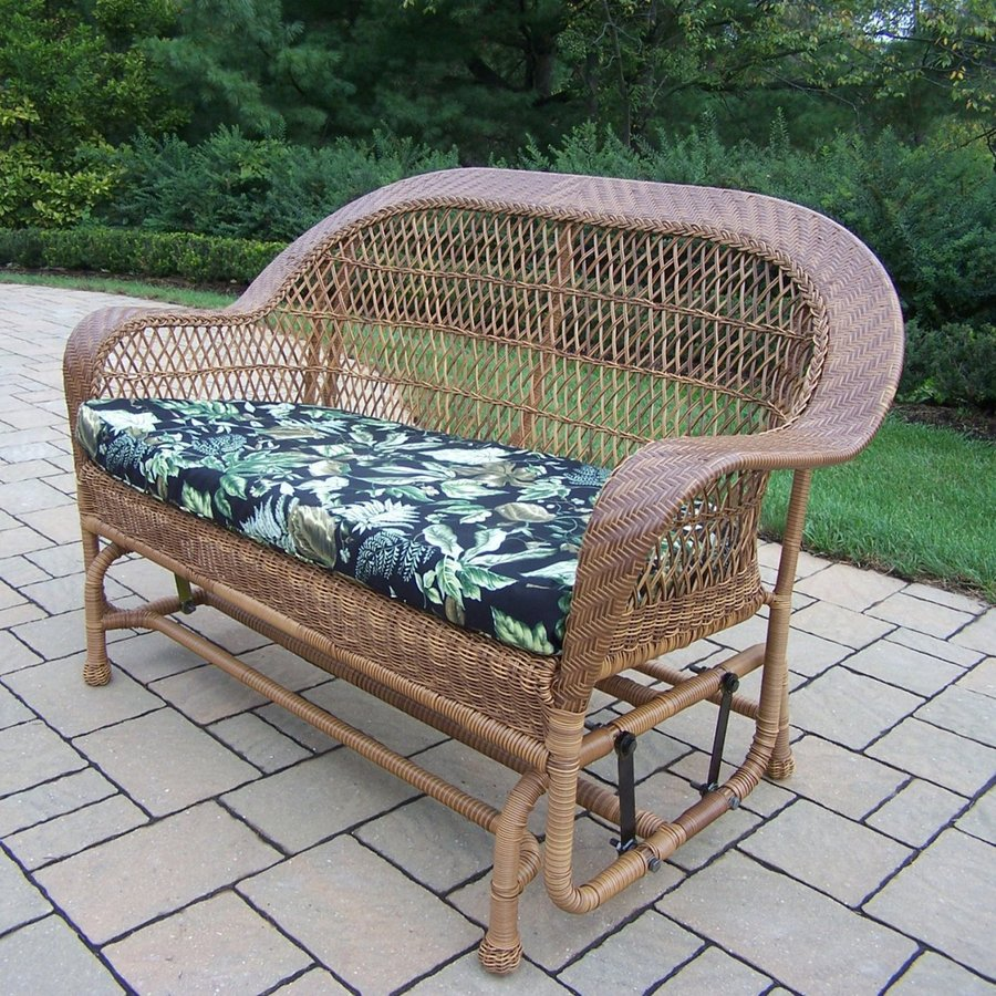 Oakland Living Resin Wicker Natural Porch Glider