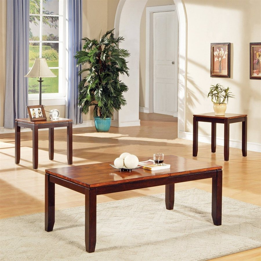 Steve Silver Company Abaco 3-Piece Cordovan Cherry Acacia Accent Table Set