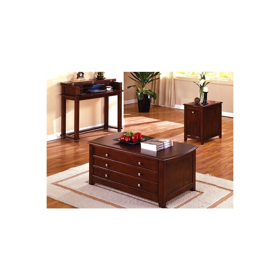 Furniture of America Pine Hurst Cherry Accent Table Set