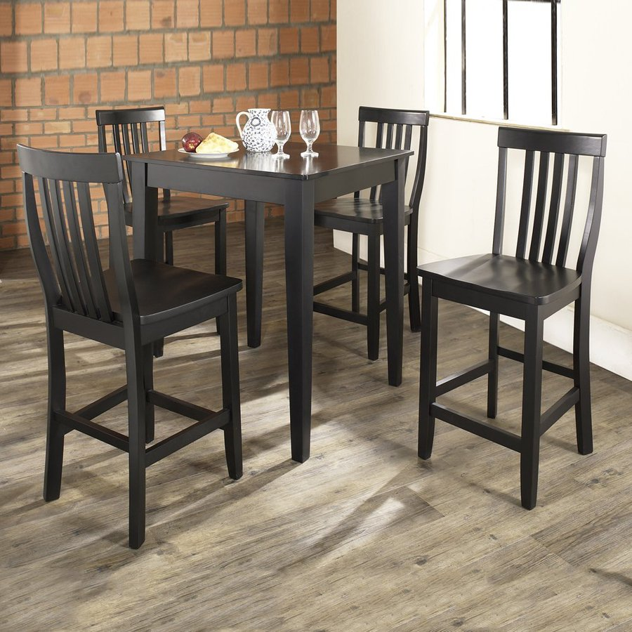 Crosley Furniture Black Dining Set With Square Counter Table and Stools