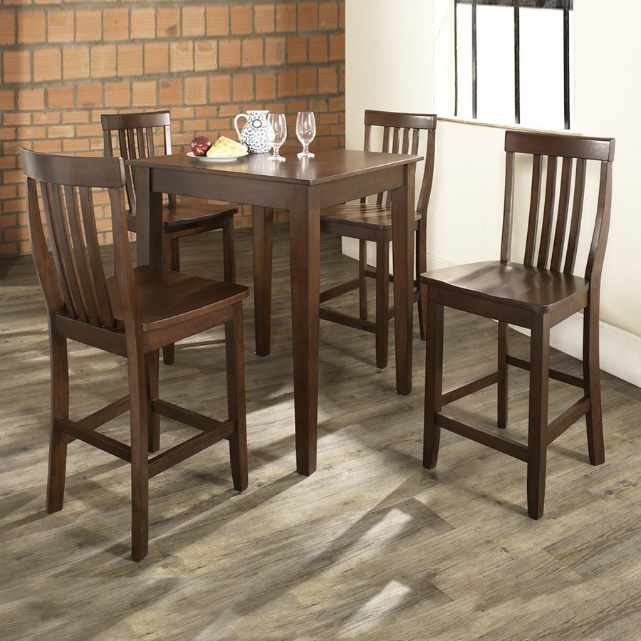 Crosley Furniture Vintage Mahogany 5-Piece Dining Set with Counter Height Table