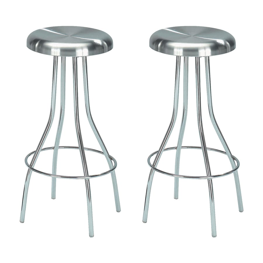 New Spec Set of 2 Chrome/Stainless Steel 26.37-in Counter Stool