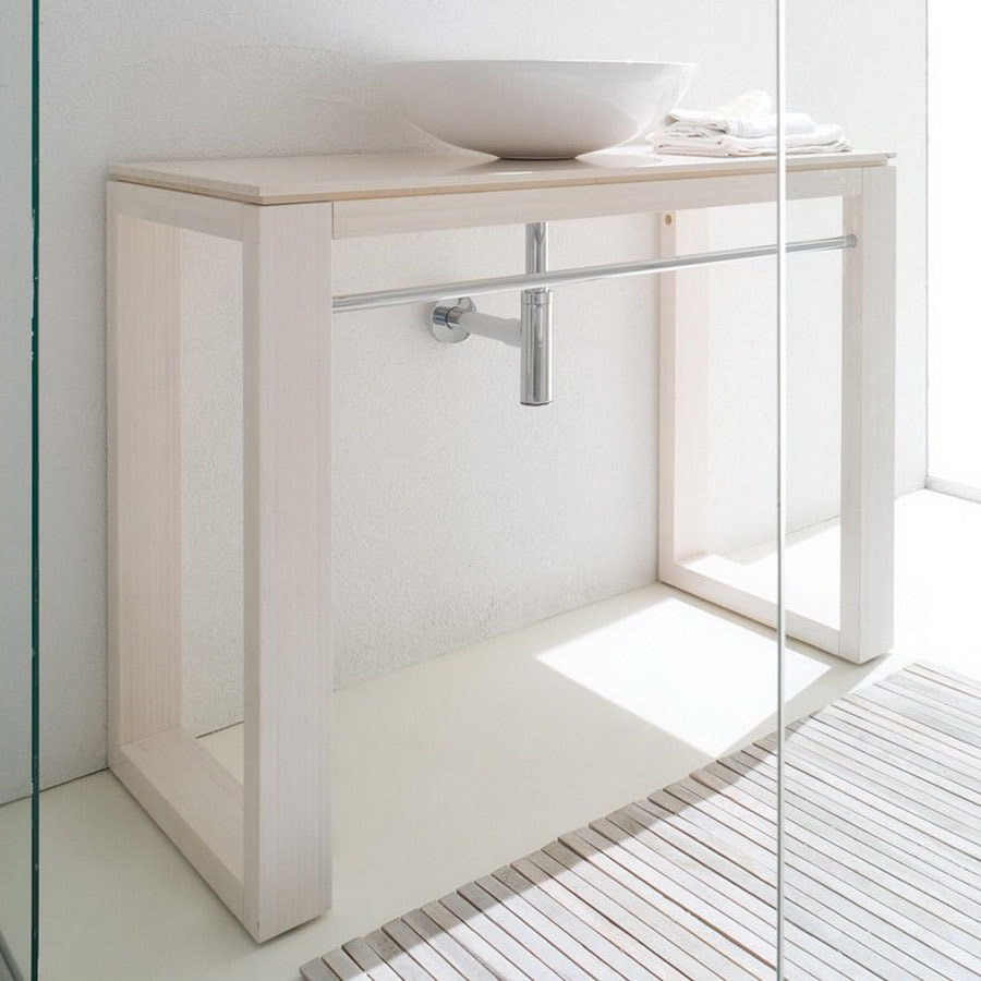 Shop WS Bath Collections 39.4-in Bamboo White Linea Bathroom Vanity ...