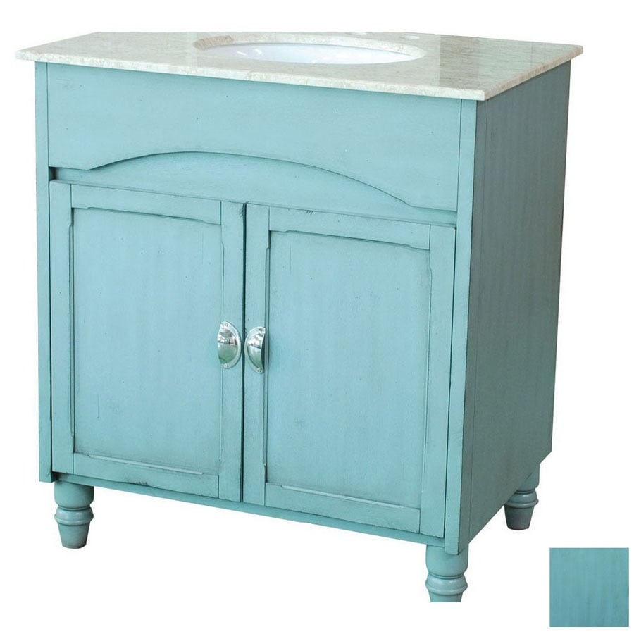 Yosemite Home Decor 30 In Blue Traditional Single Sink Bathroom Vanity With Top