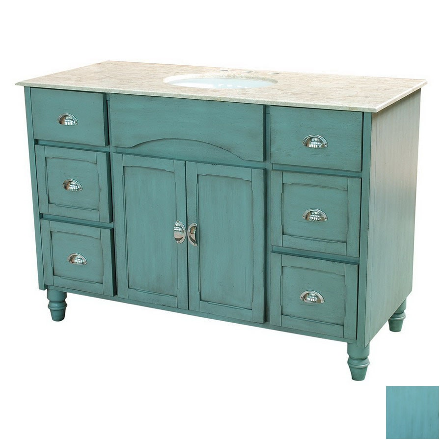 48 Bathroom Vanities With Tops: Yosemite Home Decor 48-in Blue Traditional Single Sink