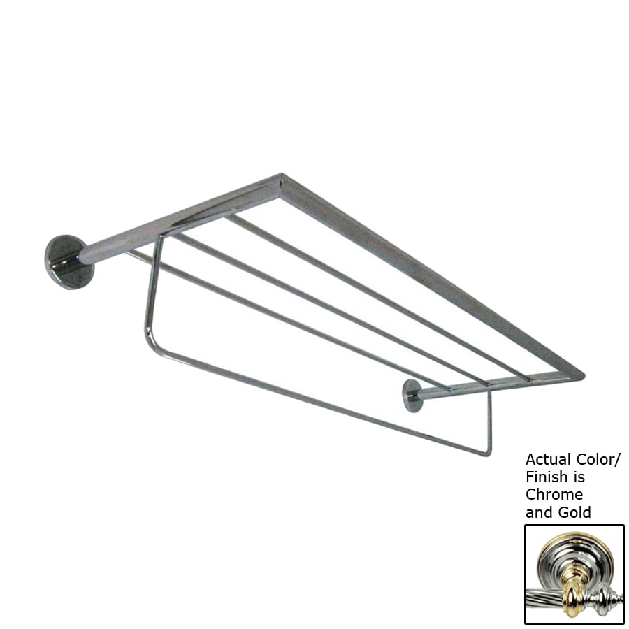 Nameeks Fluyd Chrome and Gold Rack Towel Bar (Common: 24-in; Actual: 23.62-in)