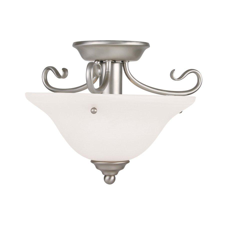 Livex Lighting Oasis 13-in W Brushed nickel Alabaster Glass Semi-Flush Mount Light