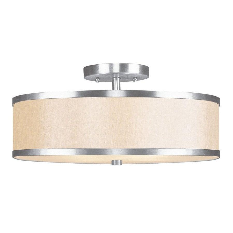 Livex Lighting Jefferson 15-in W Brushed Nickel Semi-Flush Mount Light