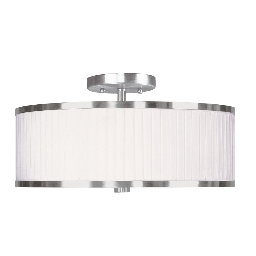 Livex Lighting Park Ridge 15-in W Brushed Nickel Semi-Flush Mount Light