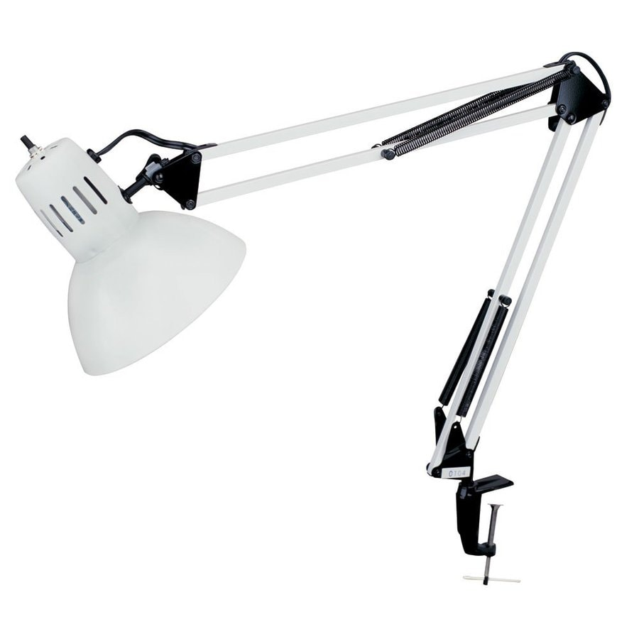 Dainolite Lighting 18 In Adjule White Clip Desk Lamp With Metal Shade