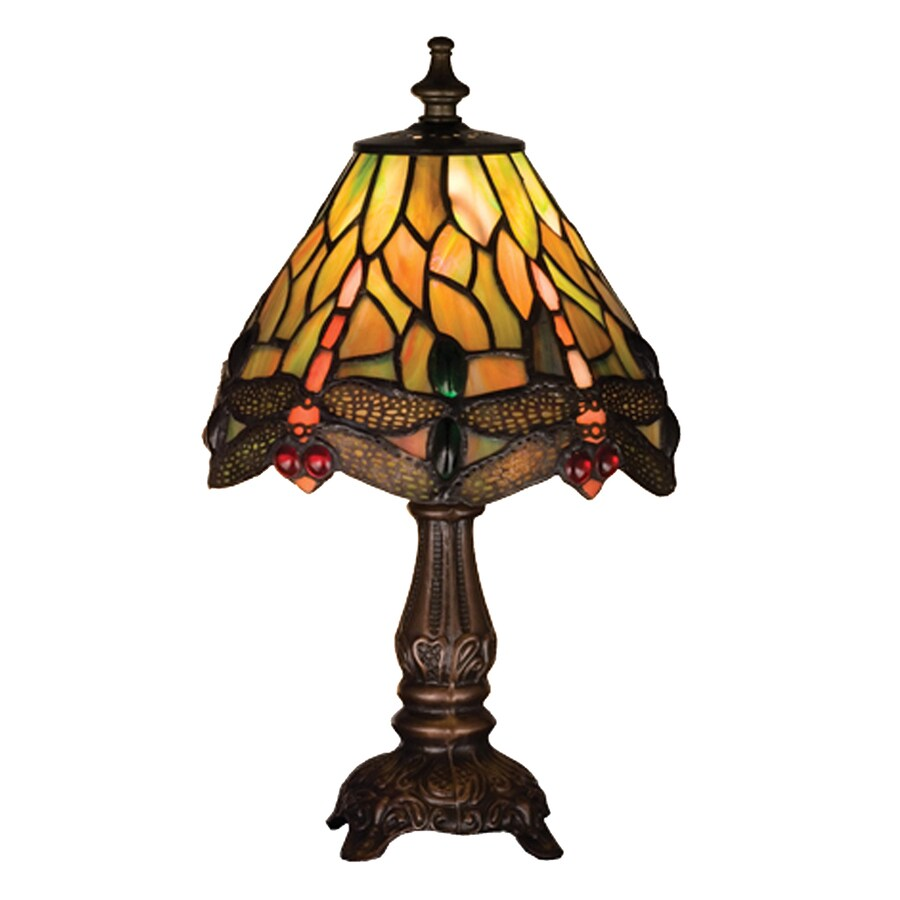 Meyda Tiffany Hanginghead Dragonfly 12-in Mahogany Bronze Tiffany-Style Indoor Table Lamp with Glass Shade