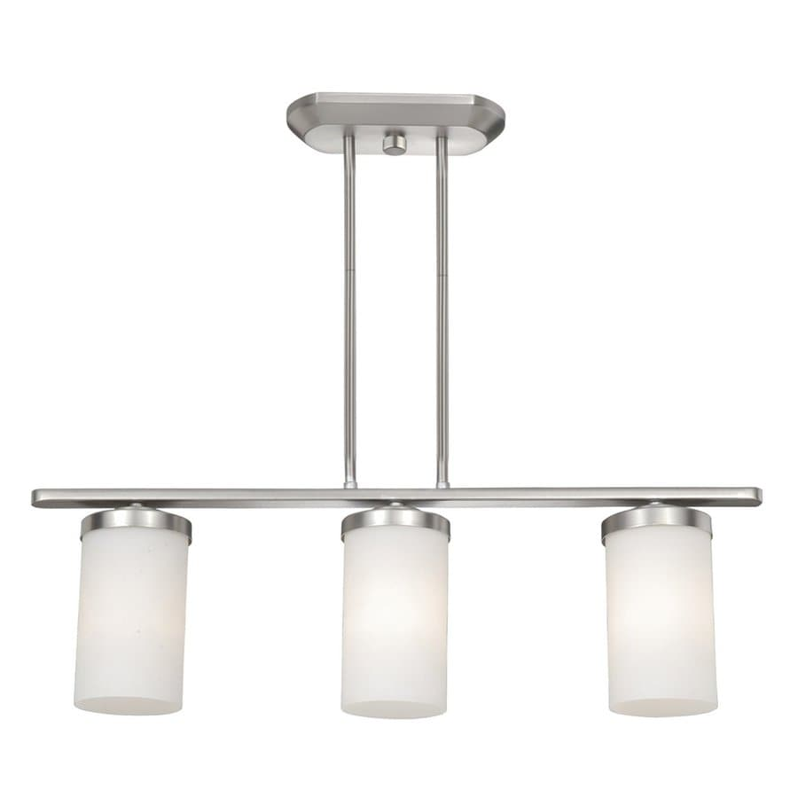 Shop Cascadia Lighting Oxford 4 In W 3 Light Brushed Nickel Kitchen Island Light With Frosted