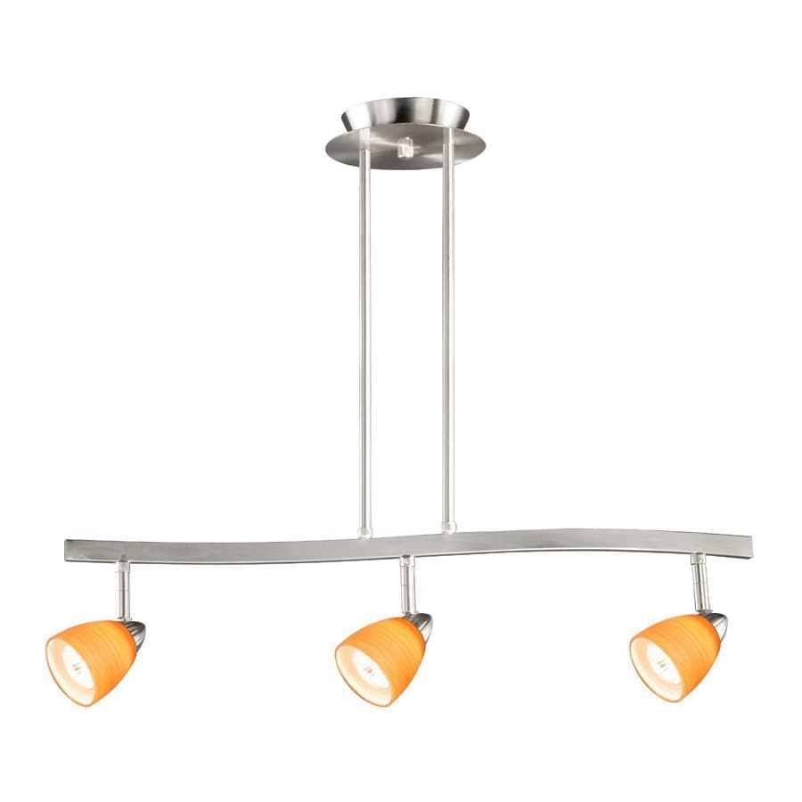 Cascadia Lighting Veneto 3-in W 3-Light Satin Nickel Kitchen Island Light with Tinted Shade