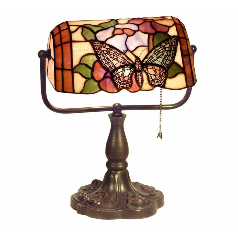 Warehouse Of Tiffany Butterfly Banker 13 In Multicolor Bankers Desk Lamp  With Glass Shade