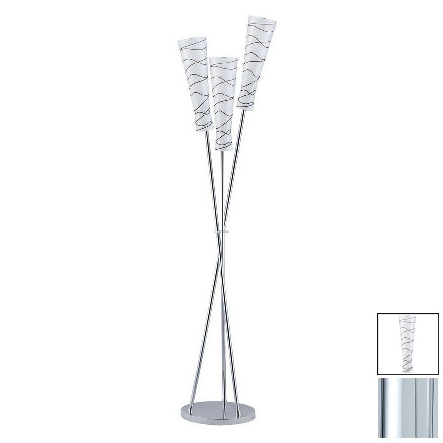Paulmann 65-7/8-in Chrome Floor Lamp with Glass Shade