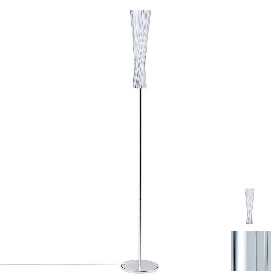 Paulmann 70-7/8-in Chrome Floor Lamp with Glass Shade