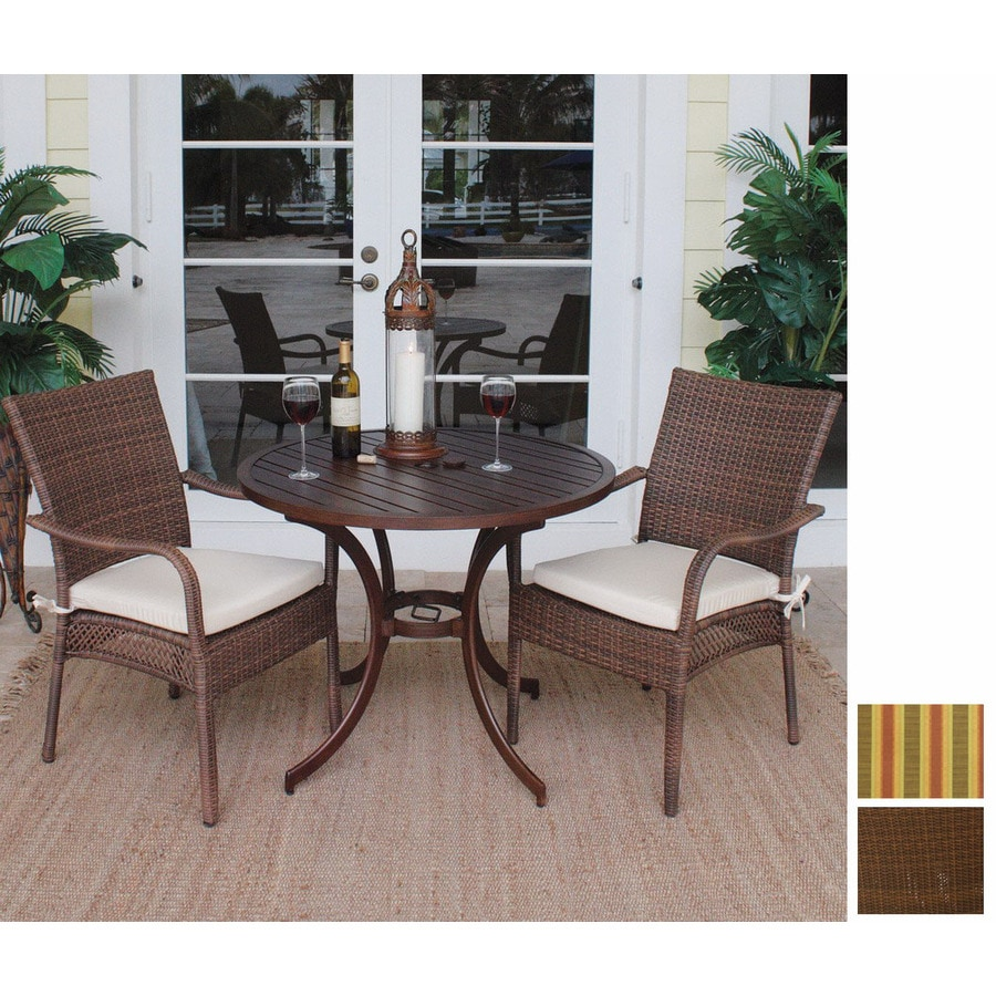 Incroyable Hospitality Rattan 3 Piece Grenada Cushioned Aluminum Patio Bistro Set