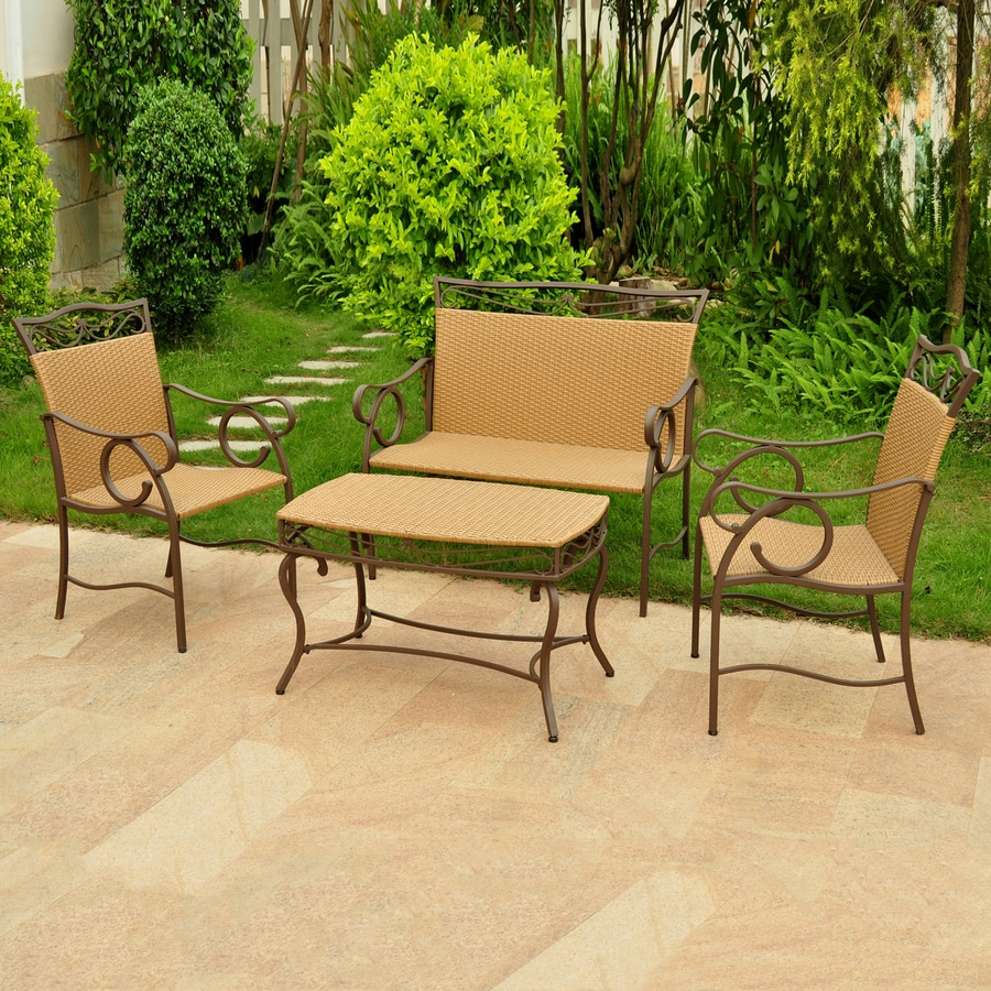 International Caravan Valencia 4-Piece Wicker Patio Conversation Set