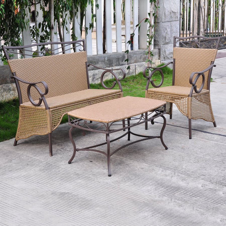 International Caravan Valencia 3-Piece Wicker Patio Conversation Set