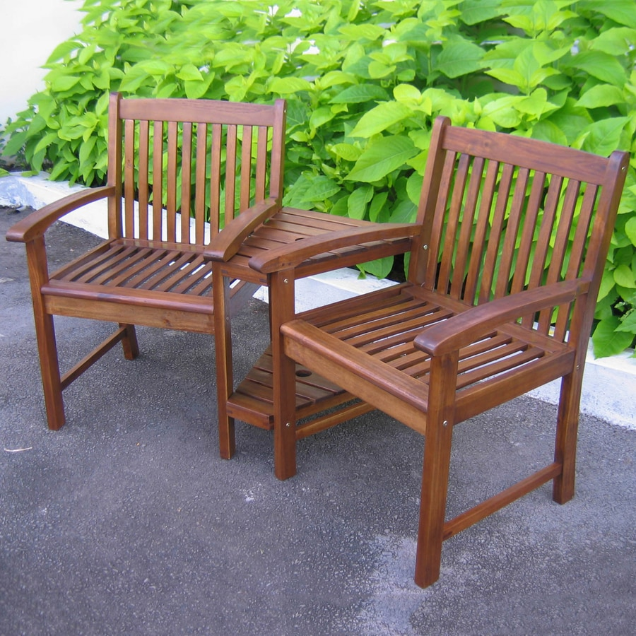 caravan 3 piece oiled acacia wood patio conversation set at