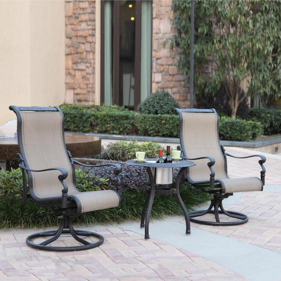 darlee monterey 3 piece aluminum patio conversation set at