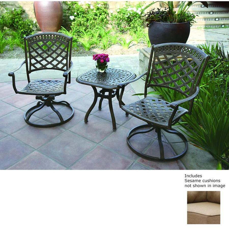 darlee sedona 3 piece aluminum patio conversation set at