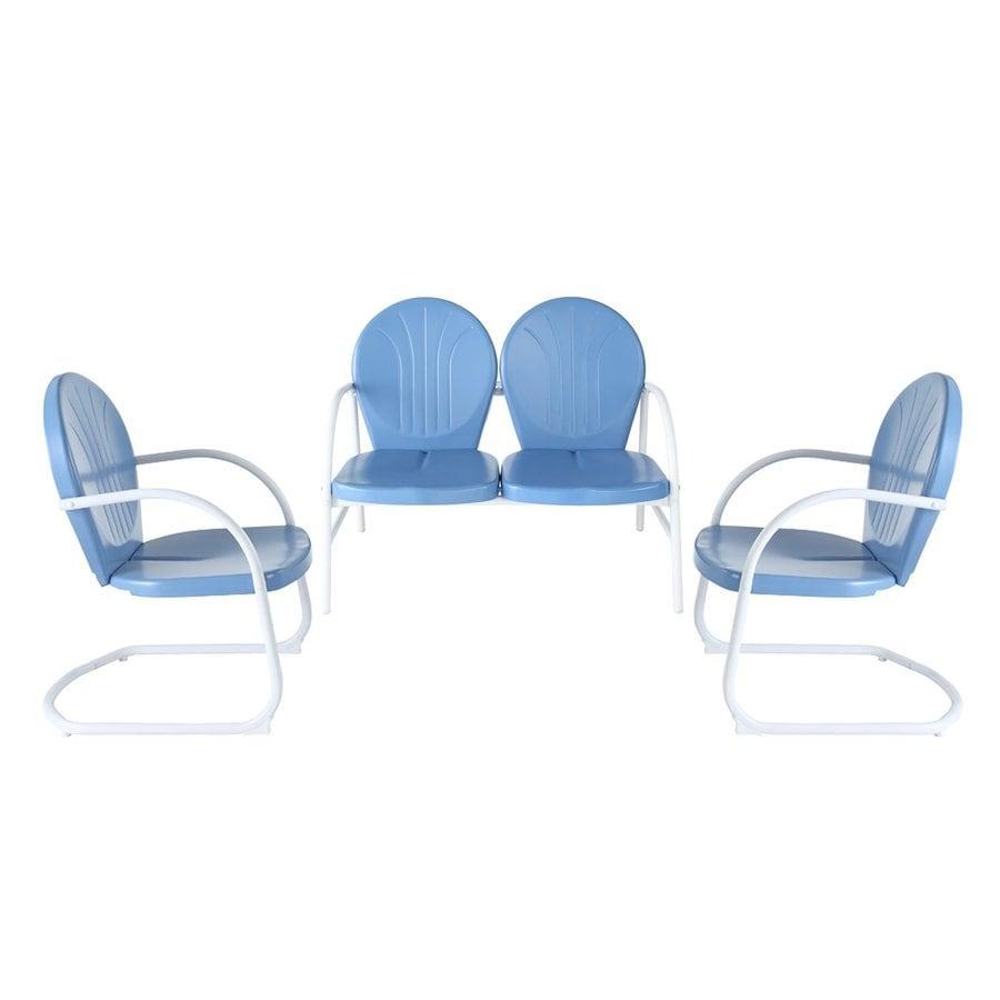 Crosley Furniture Griffith 3-Piece Steel Patio Conversation Set