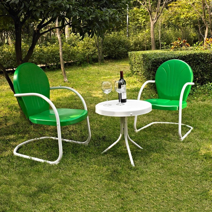 Shop crosley furniture griffith 3 piece steel frame patio for Steel outdoor furniture
