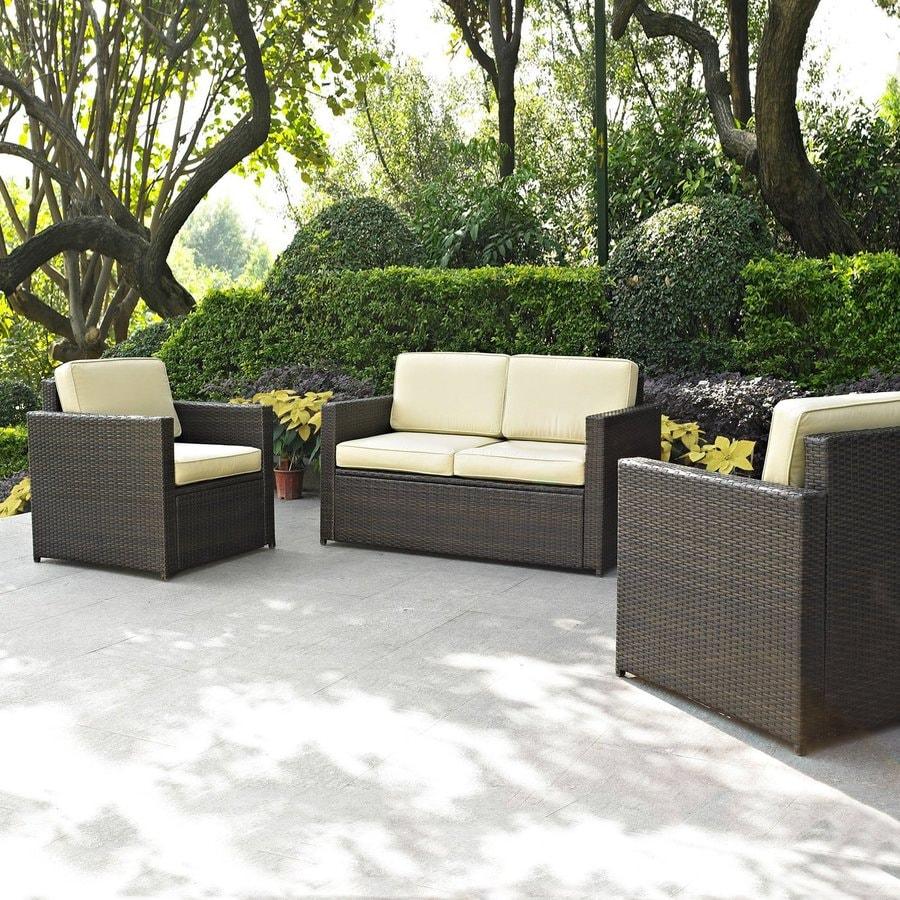 shop crosley furniture palm harbor 3 piece wicker patio conversation