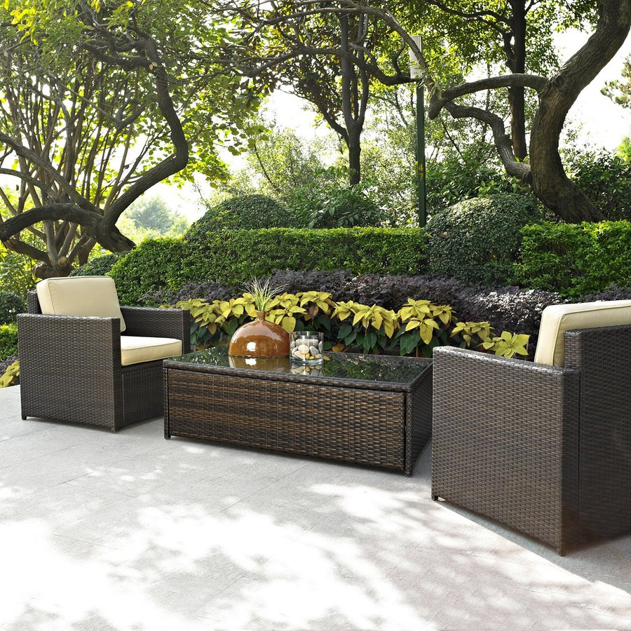 Crosley Furniture Palm Harbor 3-Piece Wicker Patio Conversation Set