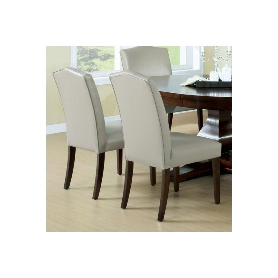 Monarch Specialties Set of 2 Tan/Dark Cognac Side Chairs