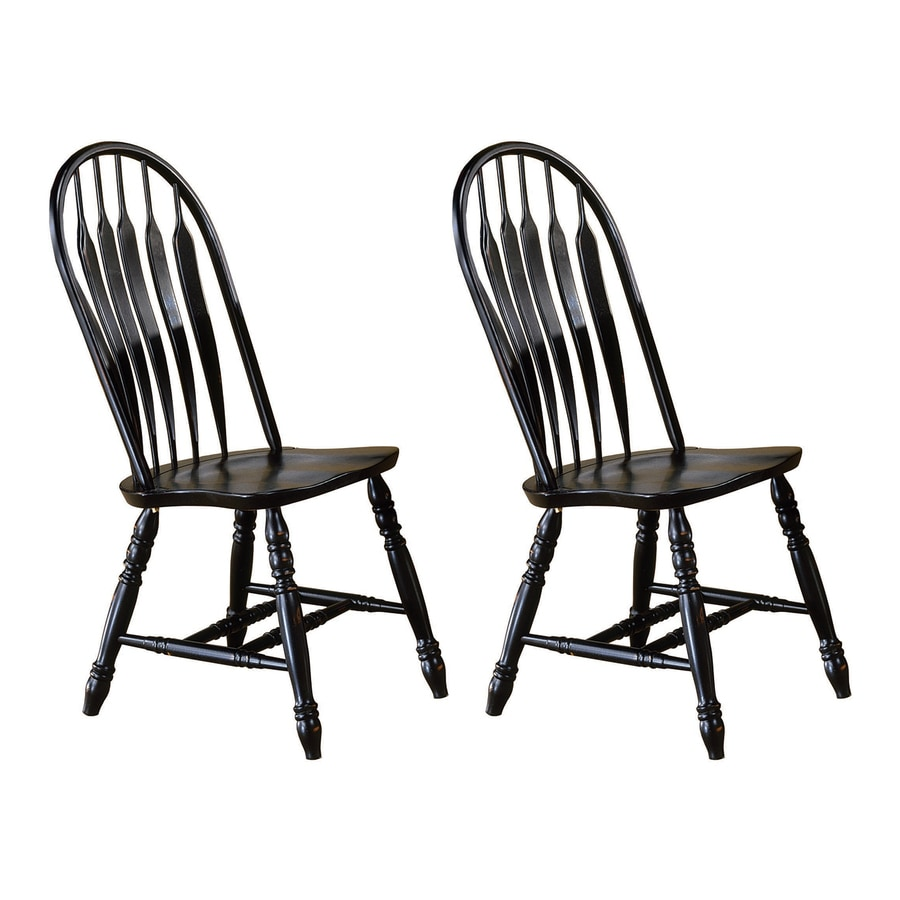 Sunset Trading Set of 2 Comfort Back Antique Black Side Chairs