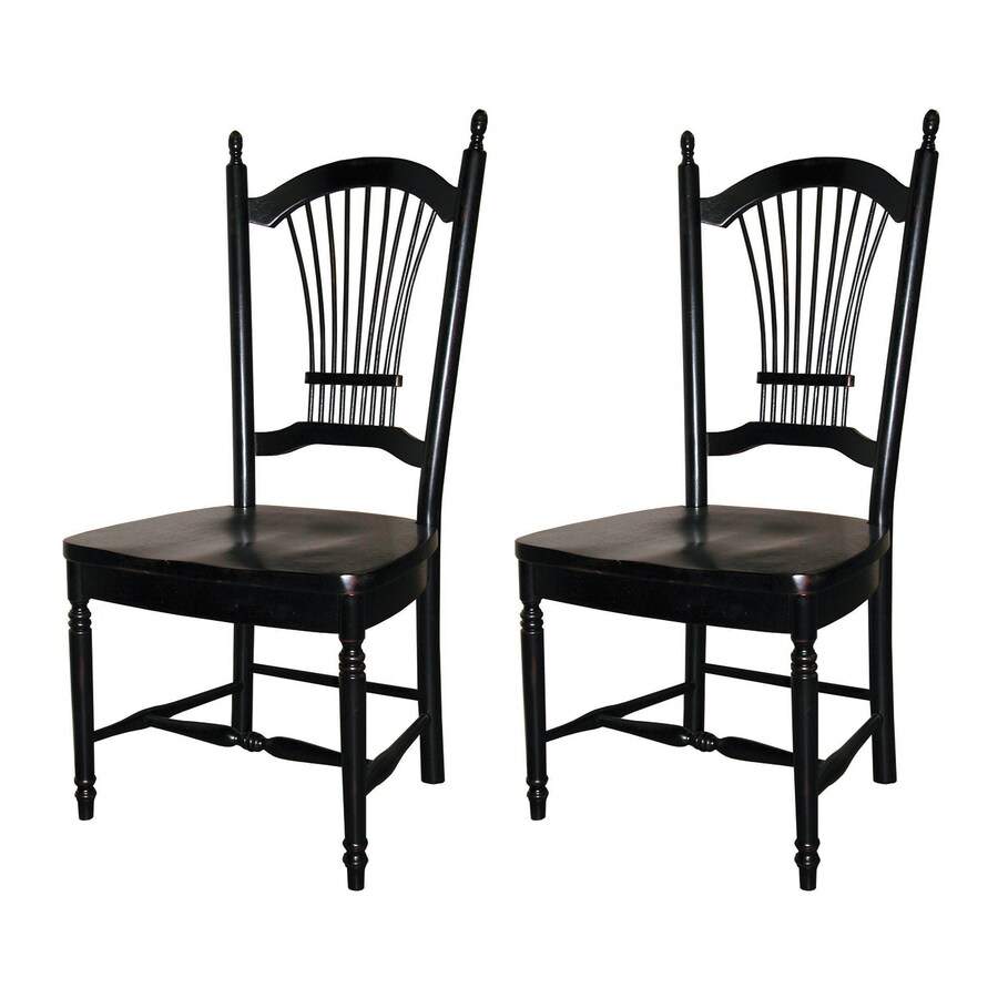 Sunset Trading Set of 2 Allenridge Antique Black Side Chairs