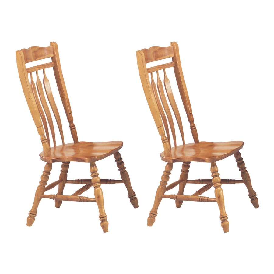 Sunset Trading Set of 2 Aspen Light Oak Side Chairs