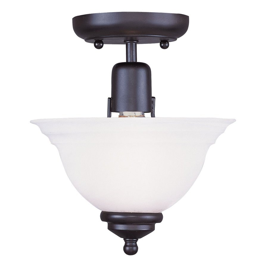 Livex Lighting North Port 8-in W Black Alabaster Glass Semi-Flush Mount Light
