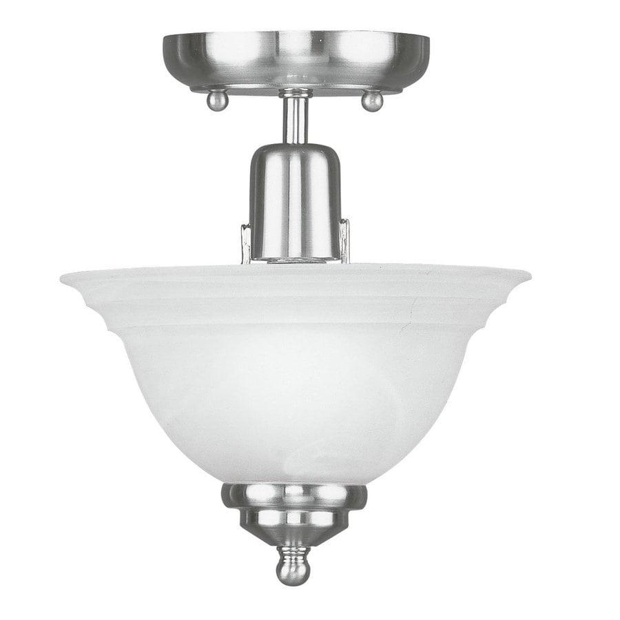 Livex Lighting North Port 8-in W Brushed Nickel Alabaster Glass Semi-Flush Mount Light