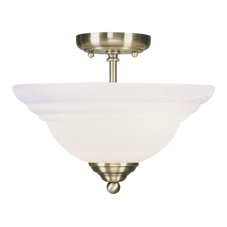Livex Lighting North Port 13-in W Antique Brass Alabaster Glass Semi-Flush Mount Light