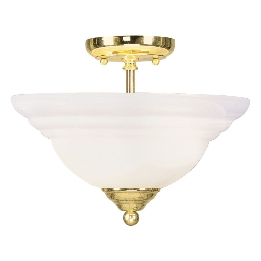 Livex Lighting North Port 13-in W Polished Brass Alabaster Glass Semi-Flush Mount Light