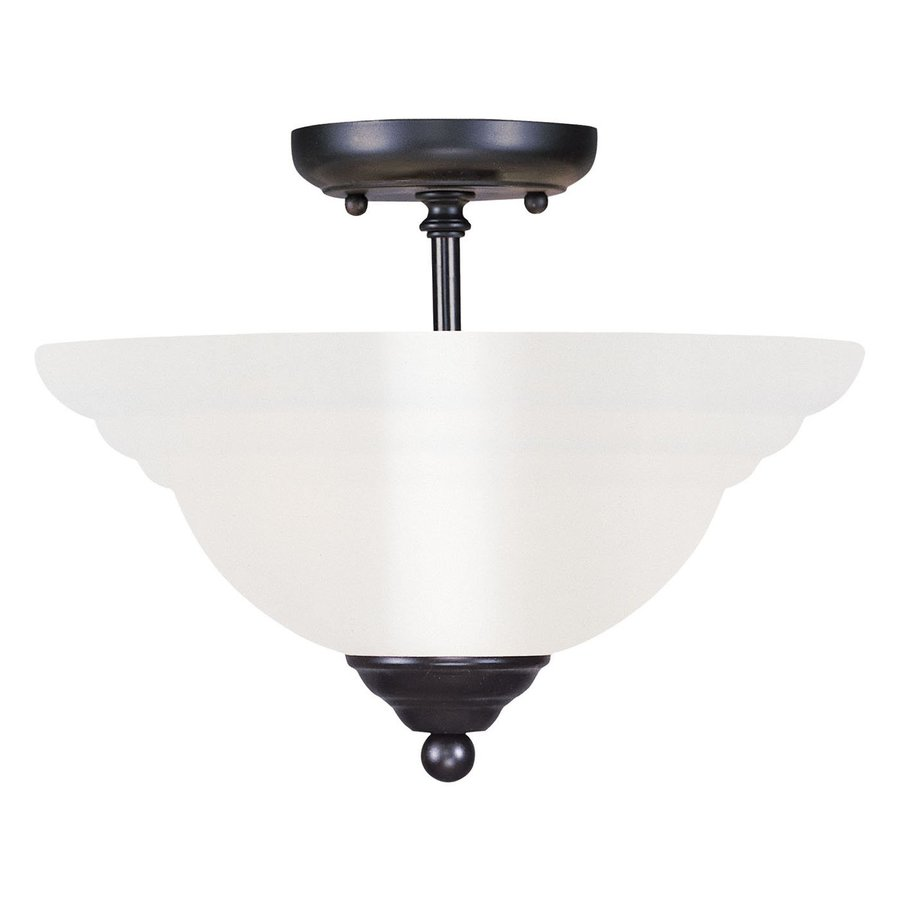 Livex Lighting North Port 13-in W Black Alabaster Glass Semi-Flush Mount Light
